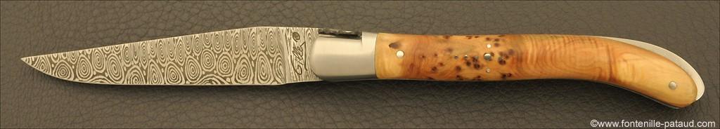 Laguiole Knife XS Damascus Range Juniper Burl