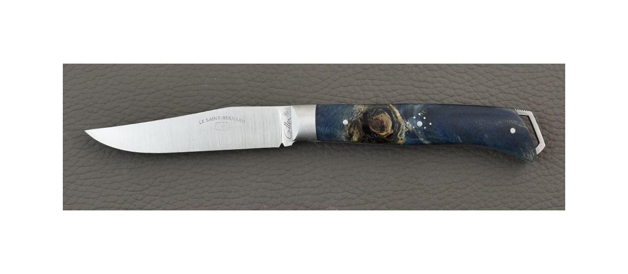 French Alpin knife Blue Poplar burl handle handmade in France