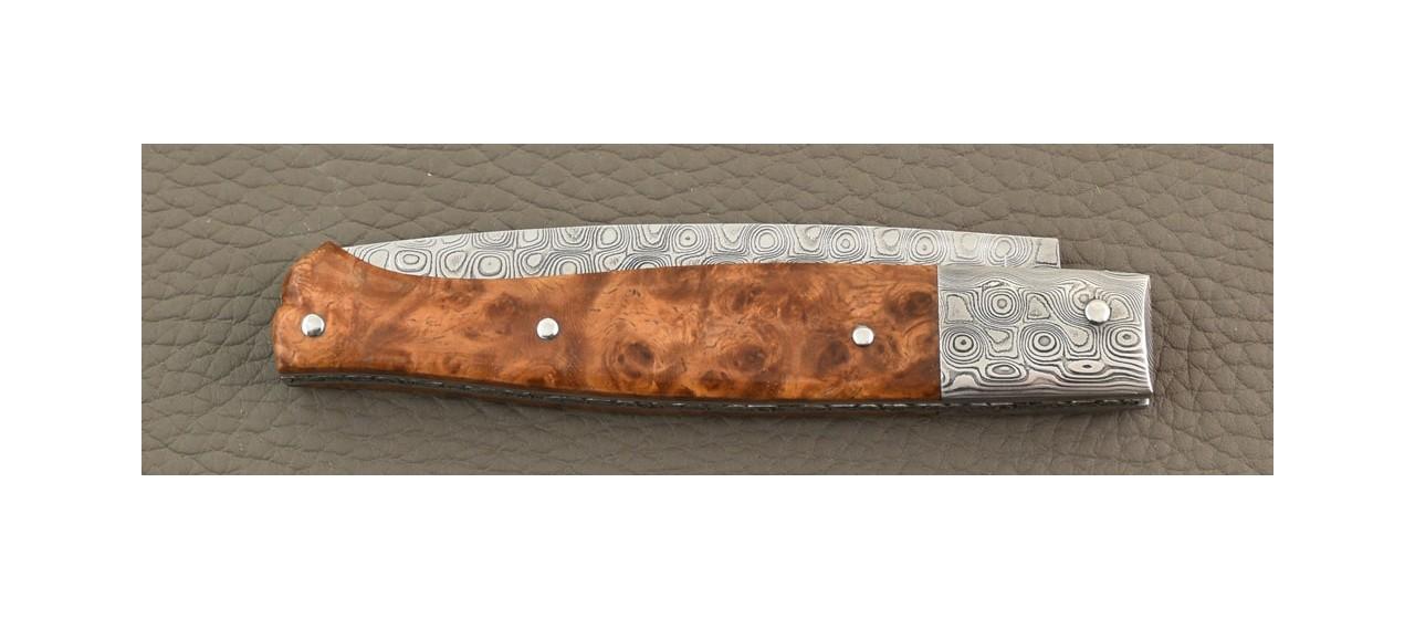 Sulcis Damascus blade and bolster, Amboyna burl knife by Jérôme Latreille