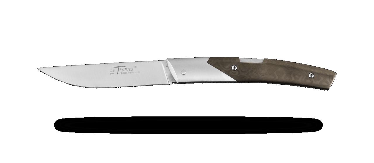 Couteau Le Thiers® Advance Fat Carbon Goutte Noire avec lame RWL34 fabriqué en France par Fontenille Pataud