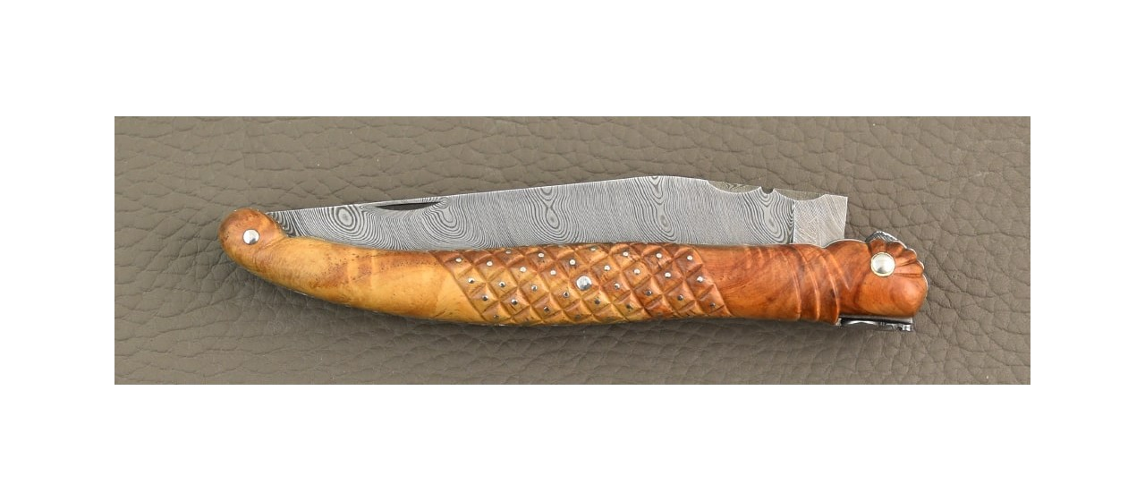 Laguiole delicate filewok damascus blade