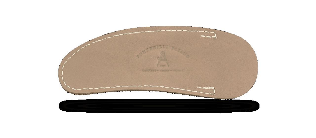 Pochette cuir souple pour Laguiole, fabrication artisanale, couleur taupe