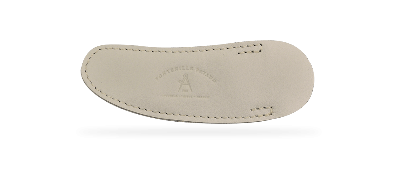 High end soft leather pouch for Laguiole knife, creamy colour. Made in France