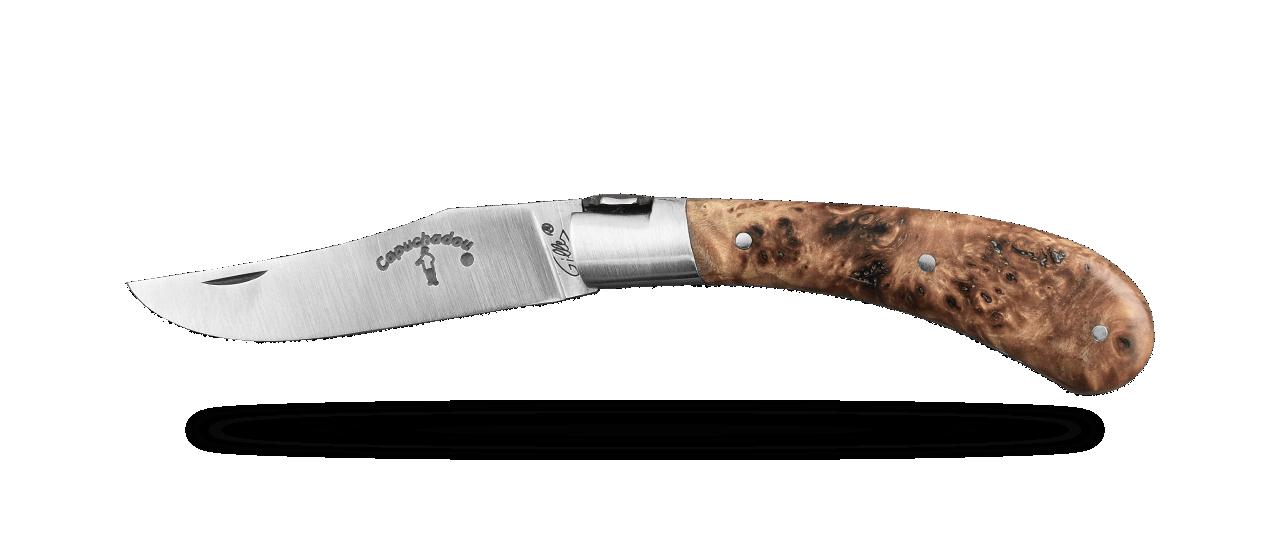 """Le Capuchadou®-Guilloché"" 10 cm hand made knife, Stabilized poplar burl"
