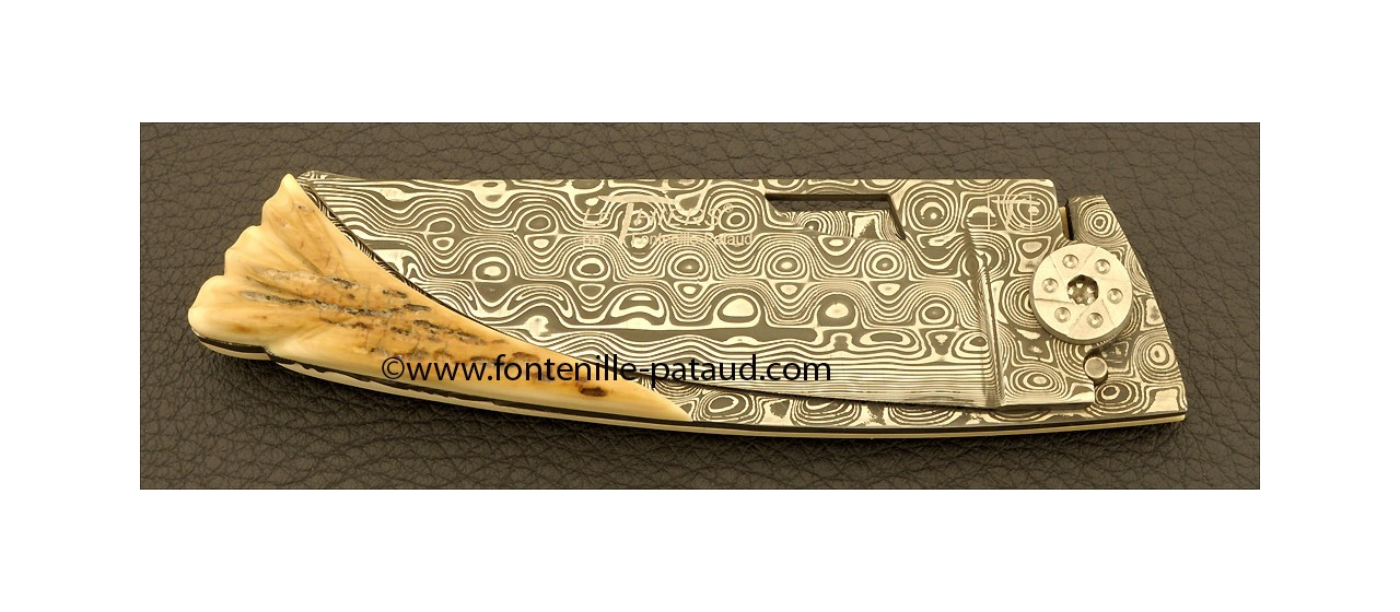 Le Thiers Knife Damascus Range The leaf Mammoth ivory
