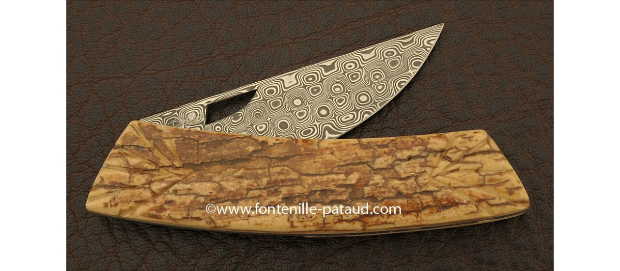 Le Thiers Knife Damascus Range Mammoth fossilized