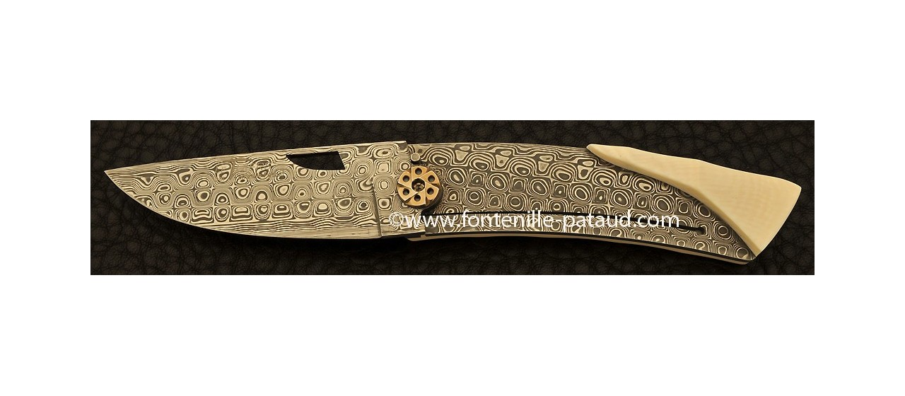 Le Thiers Knife Damascus Range Real White Mammoth ivory