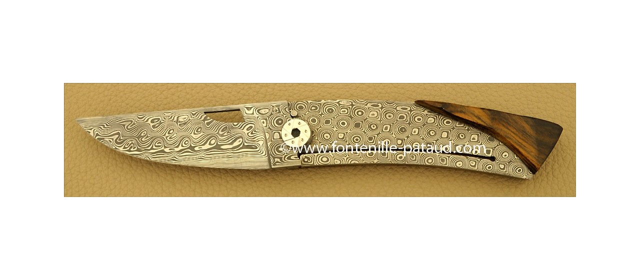 Le Thiers Knife Damascus Range Pistachio wood