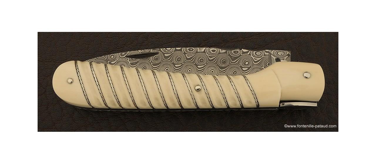 Couteau Vendetta Corse Tresse en argent Ivoire de mammouth blanc