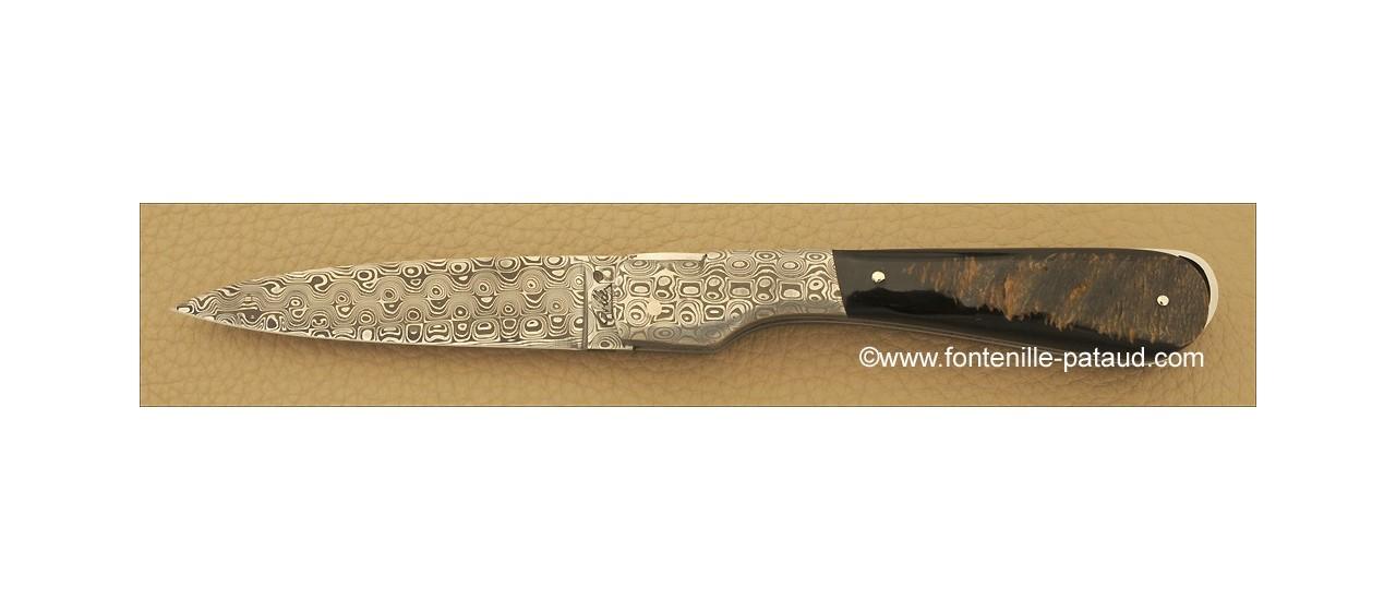 Couteau Sperone Corse mitres et lame Damas Buffle brut