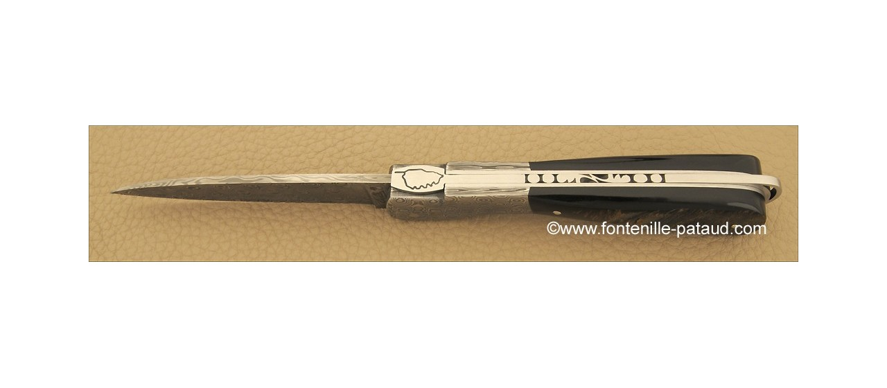 Corsican Sperone knife Damascus blade and bolsters Range Buffalo bark