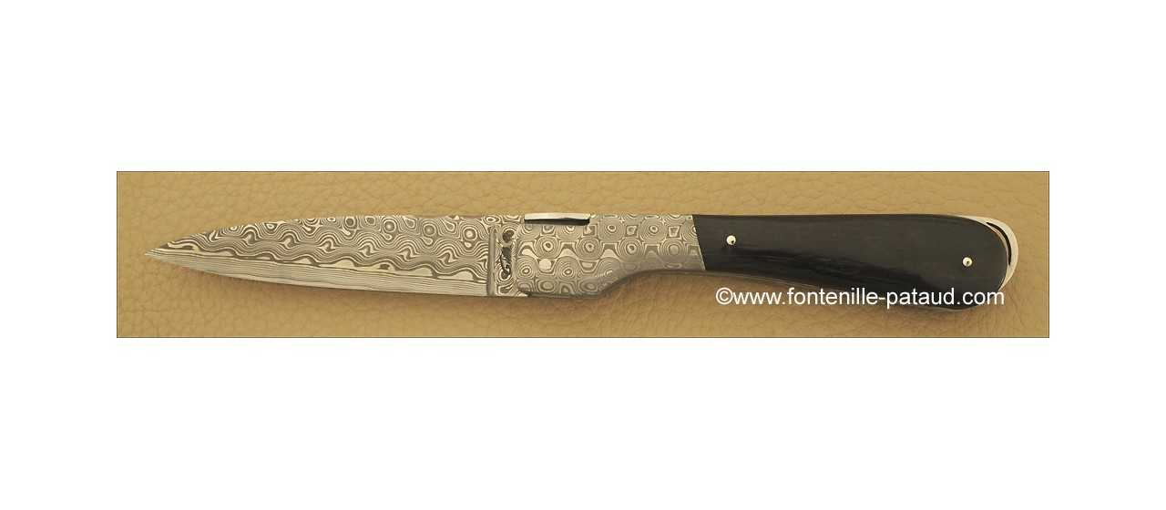 Corsican Sperone knife Damascus Range Real ebony