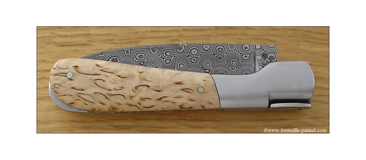 Corsican Pialincu knife Damascus range Curly birch