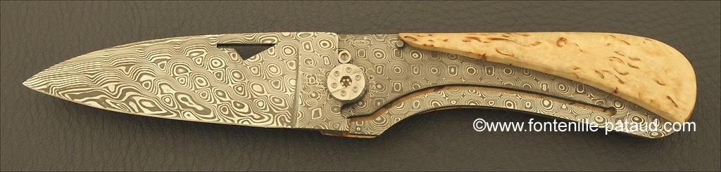 Corsican U Cumpa knife Damascus Range Curly birch