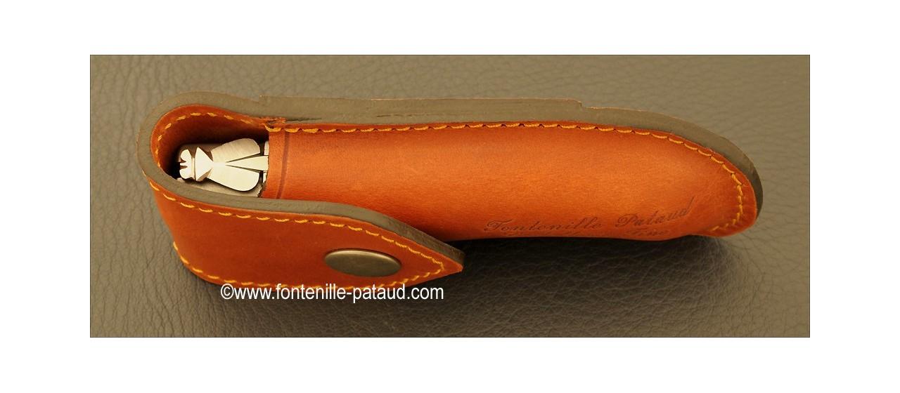 Leather Belt sheath for Laguiole Gentleman, Pialincu, Capuchadou 10 cm et Chamois 10 cm