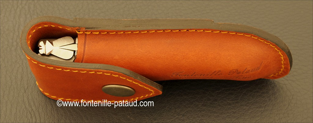 Leather Belt sheath for Laguiole Gentleman, Pialincu, Capuchadou 10 cm et Chamois 10 cm