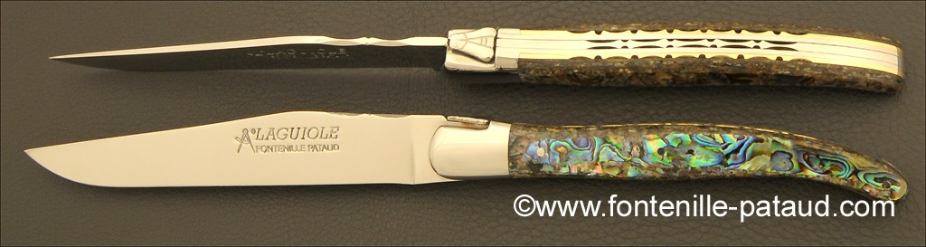 Set of 2 Laguiole Forged Steak Knives Mother of pearl