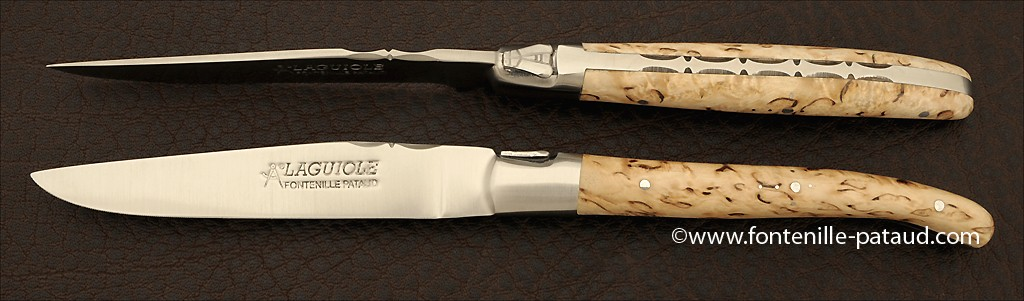 Set of 2 Laguiole Forged Steak Knives Curly birch