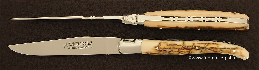 Set of 2 Laguiole Forged Steak Knives Fossilized mammoth
