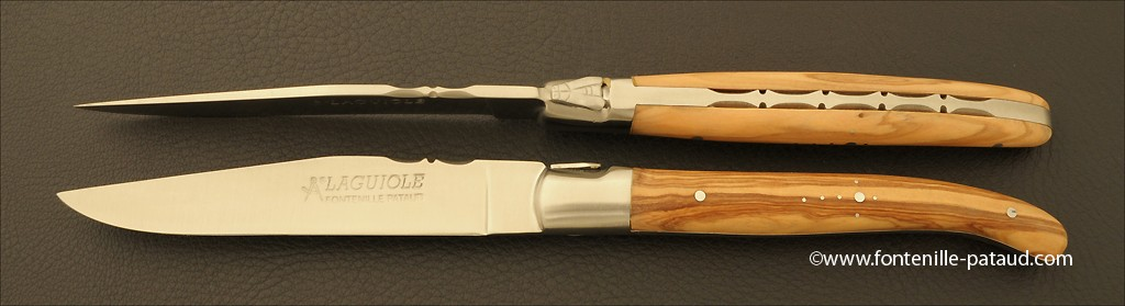 Set of 2 Laguiole Forged Steak Knives Olivewood