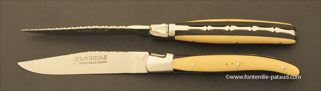 """Set of 2 Laguiole Forged Steak Knives """"Guilloché"""" Ebony & Boxwood marquetry"""