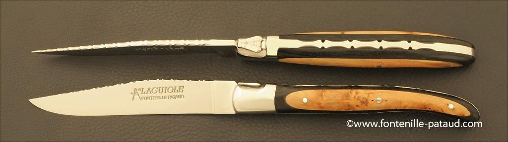 "Set of 2 Laguiole Forged Steak Knives ""Guilloché"" Ebony & Juniper burl marquetry"