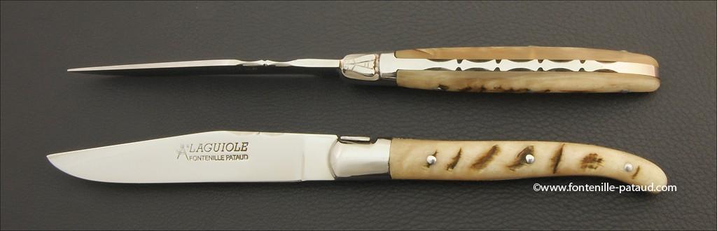 Set of 2 Laguiole Forged Steak Knives Ram horn