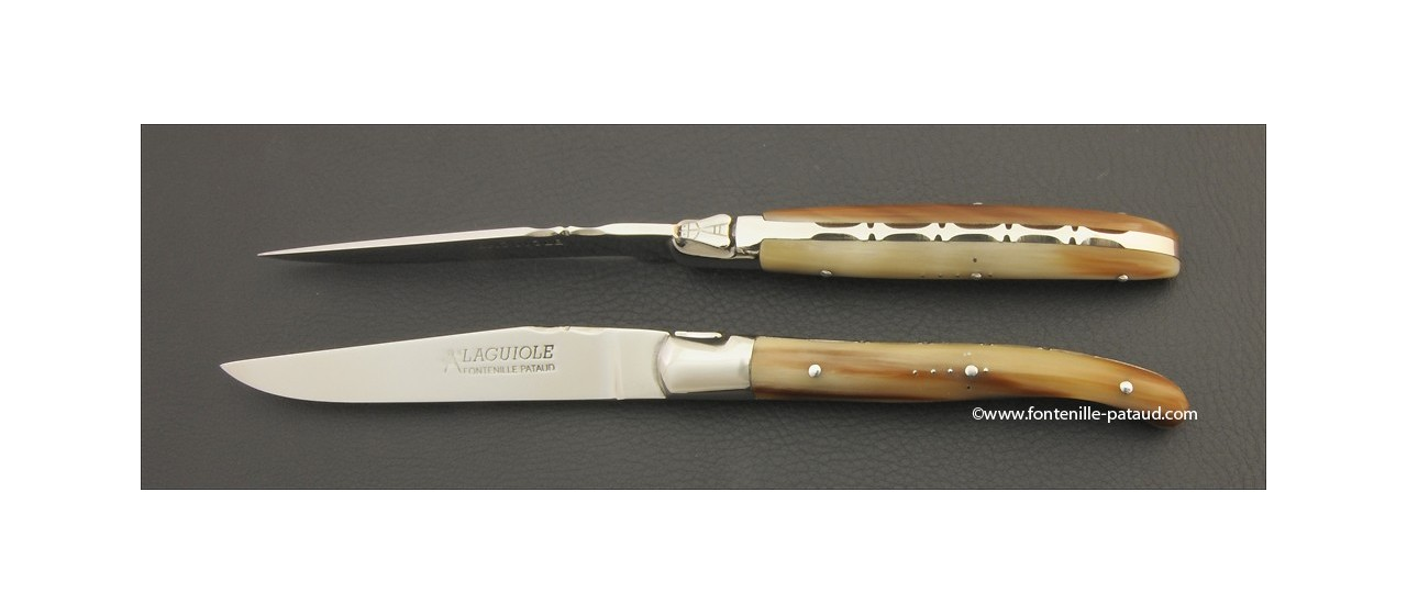 Set of 2 Laguiole Forged Steak Knives Real horn tip