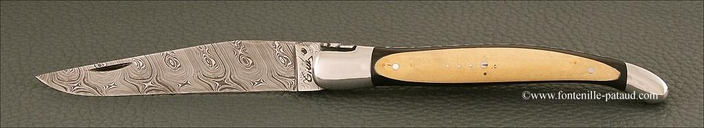 Laguiole knife ebony and boxwood, damasteel blade