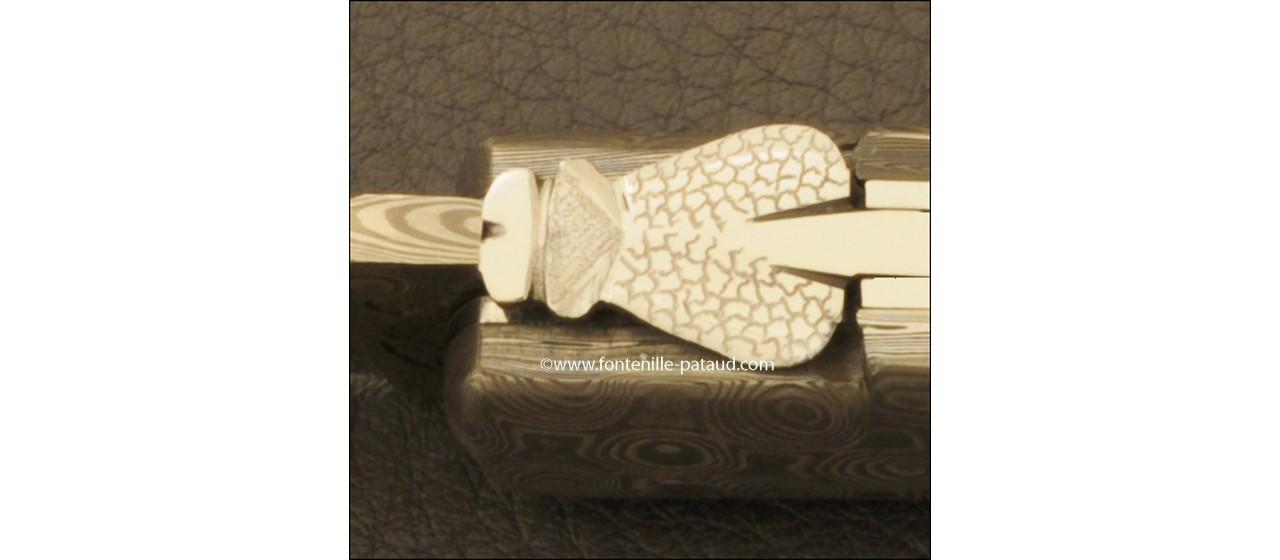Couteau Laguiole Gentleman Damas Ivoire de Mammouth Brun