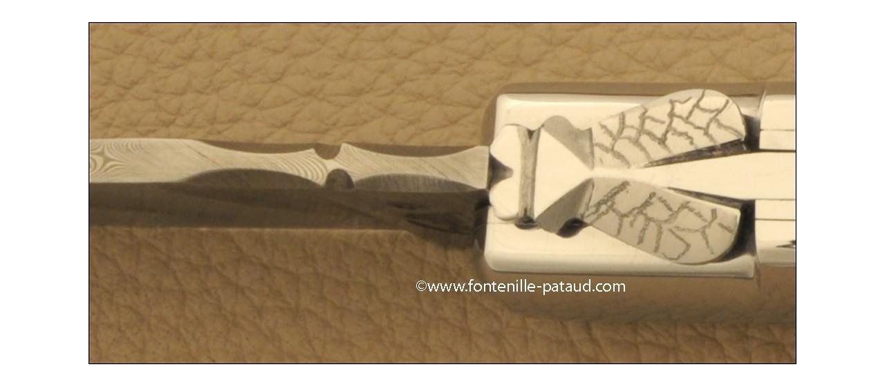 Laguiole Knife Gentleman Damascus Range Buffalo black horn tip