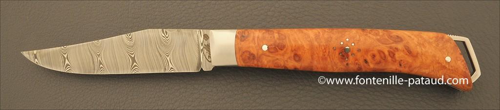 Le Saint Bernard Knife Damascus Stabilized poplar burl