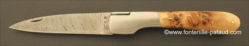 Corsican Vendetta knife Damascus Range Juniper Burl