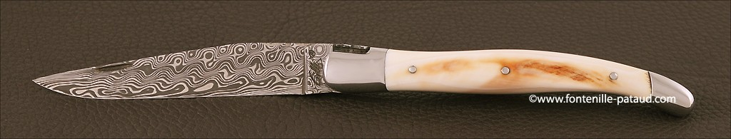 Damascus balde and real ivory laguiole knife