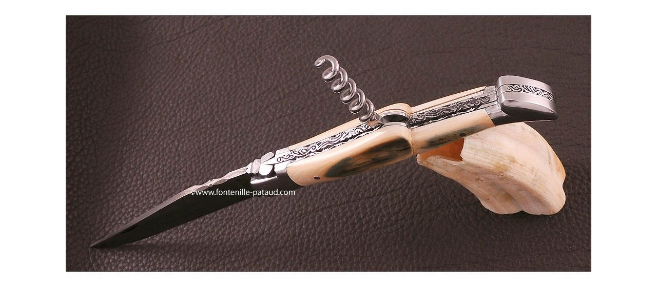 Laguiole Knife Traditional 12 cm Collection Blue fossilized mammoth ivory Delicate file work