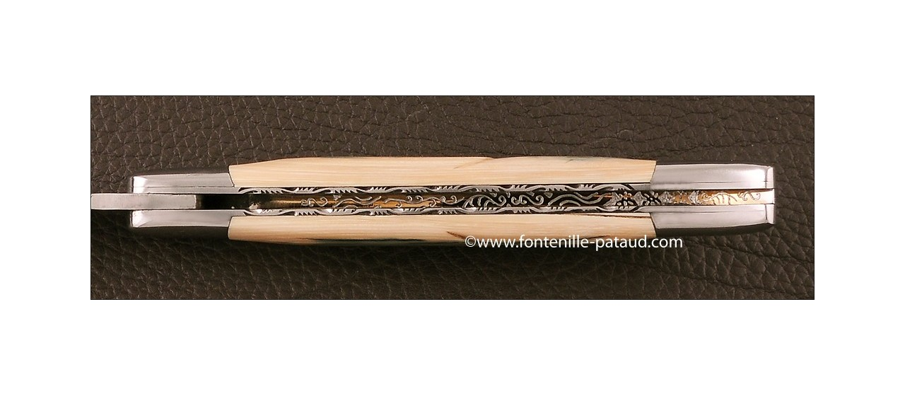 Couteau Laguiole Traditionnel 12 cm Collection Mammouth fossile bleu Guillochage fin