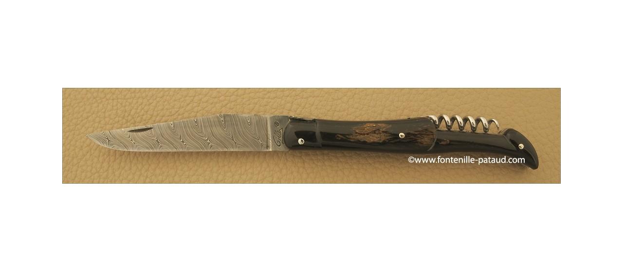 Couteau Laguiole Traditionnel 12 cm Damas avec Tire-Bouchon Buffle brut