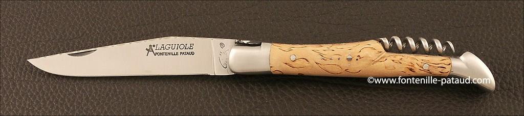 Laguiole Traditionnel 12 cm Guilloché avec Tire-Bouchon Bouleau