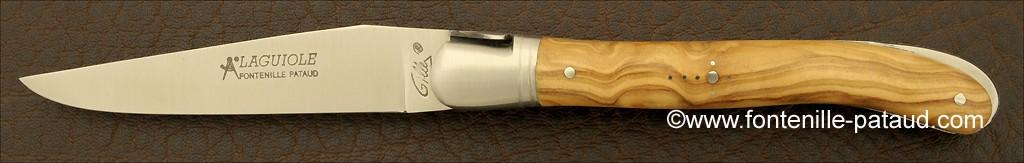 couteau laguiole fabriqué artisanalement en olivier