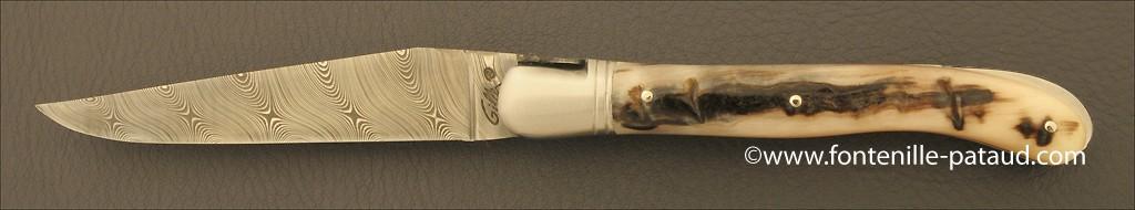 Véritable couteau de laguiole avec lame en acier damas