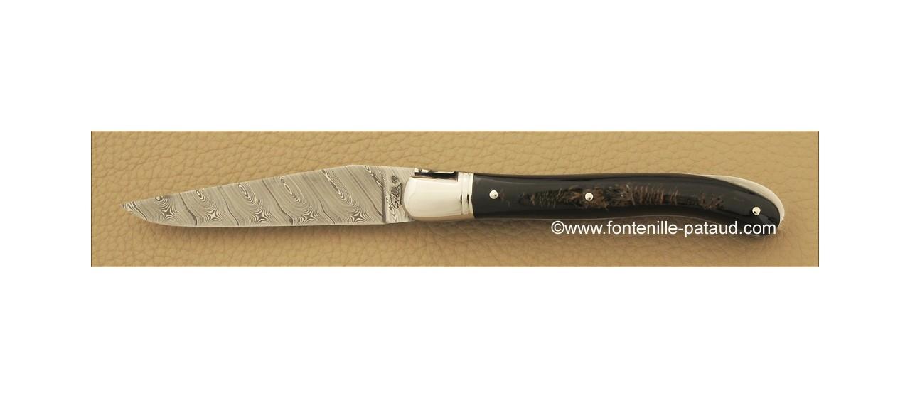 Couteau laguiole de haute qualité avec lame en damas et manche en buffle