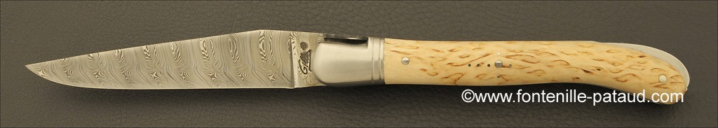 Curly birch laguiole knife and damascus steel blade