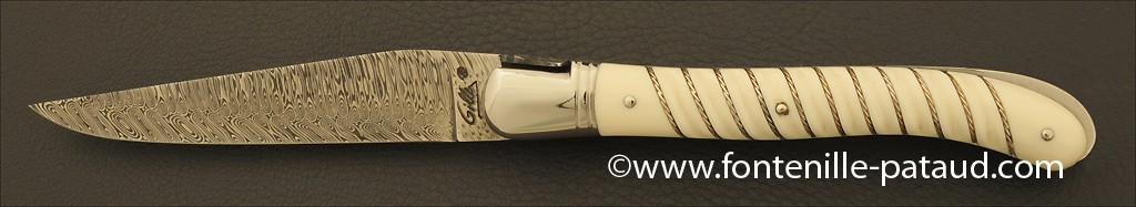Very high end laguiole knife, ivory and damascus blade