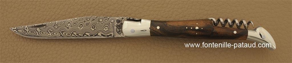 Laguiole Traditionnel 12 cm Damas avec Tire-Bouchon Noyer
