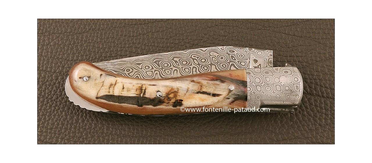 Laguiole Knife Sport Damascus Range Dark ram horn