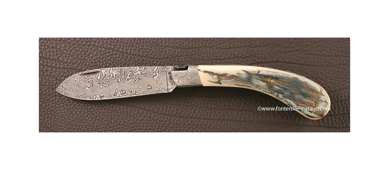 Le Chamois® 12 cm Damas Mammouth Bleu Guillochage fin