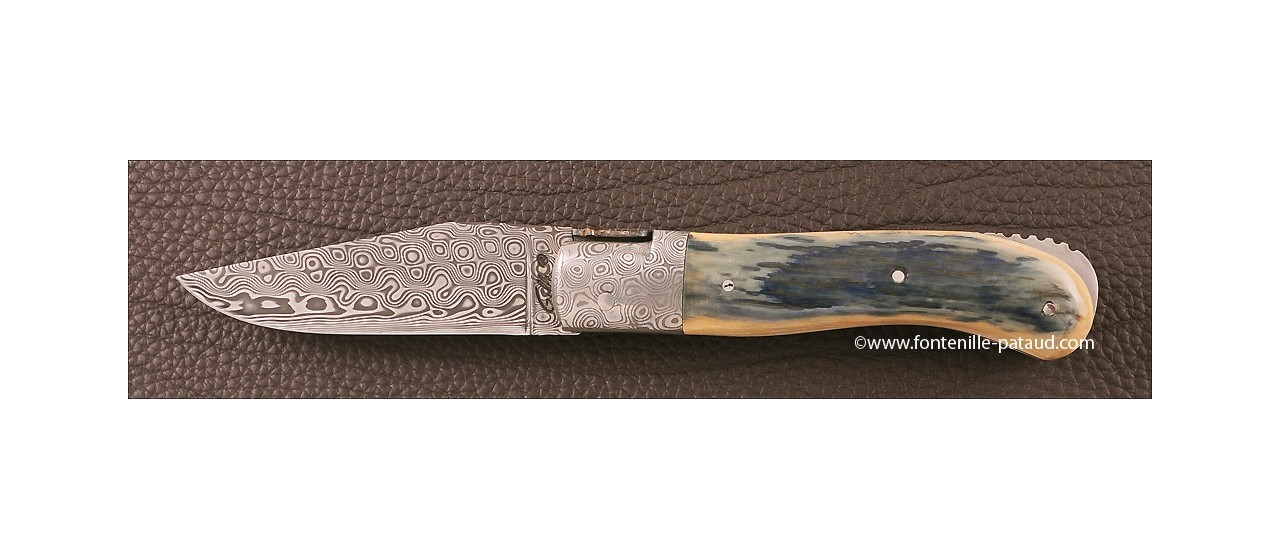 Laguiole Knife Gentleman Damascus Range Blue fossilized Mammoth Ivory Delicate file work