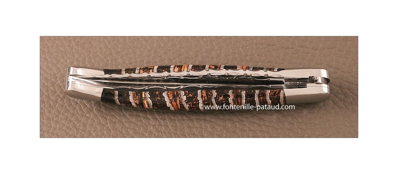 Couteau Laguiole Traditionnel 11 cm Guilloche Ivoire de molaire de Mammouth