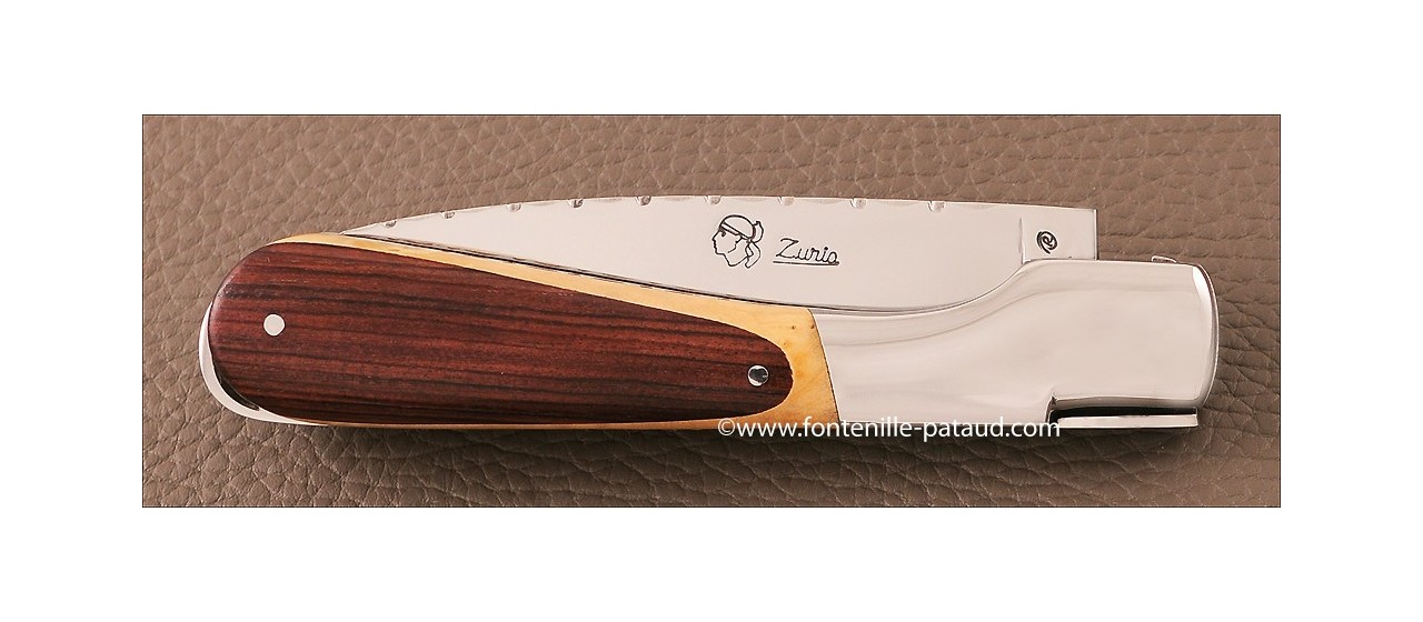 Corsican Sperone kanife Guilloche Range Boxwood and Purplewood