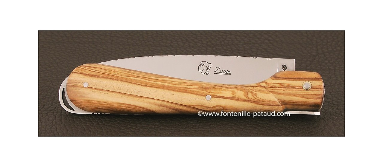 Corsican Sperone knife Guilloche Range Olivewood